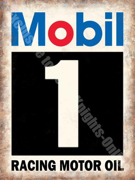mobil-1-racing-motor-oil-vintage-garage-motorsport-advert-metal-steel-wall-sign