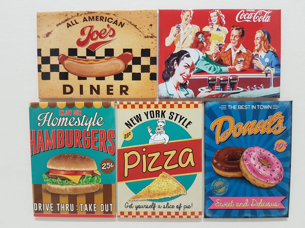 american-diner-hot-dog-cola-burger-pizza-doughnut-novelty-fridge-magnet-gift-set