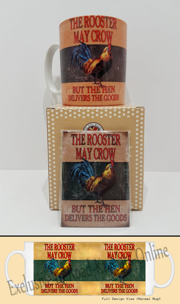 Rooster May Crow Funny Comedy Chicken Kitchen Tea Coffee Mug Magnet Gift Set