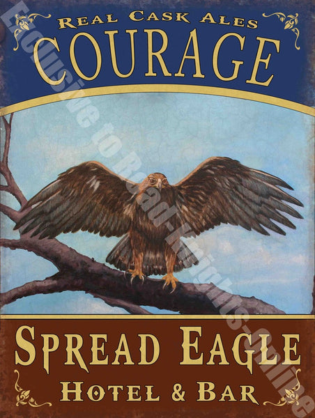 eagle-hotel-funny-courage-cask-ale-beer-old-pub-bar-sign-metal-steel-wall-sign