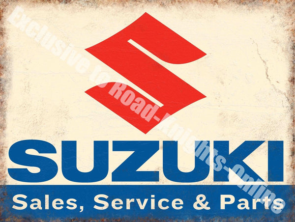 suzuki-sales-service-parts-motorcycle-car-metal-steel-wall-sign