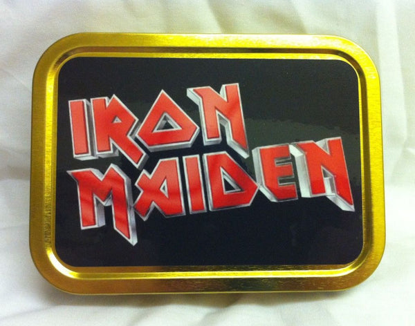 iron-maiden-logo-text-on-black-background-british-heavy-metal-band-eddie-trooper-number-of-the-beast-666-bruce-dickinson-gold-sealed-lid-2oz-tobacco-storage-tin