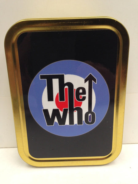 the-who-text-logo-on-target-classic-british-rock-band-black-background-mods-gold-sealed-lid-2oz-tobacco-storage-tin