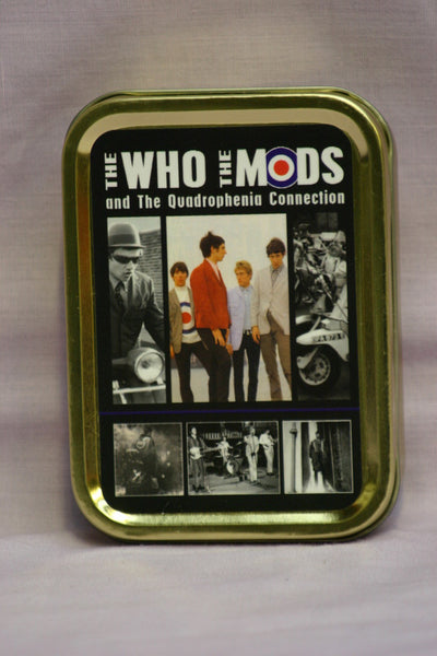 the-who-the-mods-and-the-quadrophenia-connection-classic-rock-bands-scooters-and-mods-photographs-gold-sealed-lid-2oz-tobacco-storage-tin