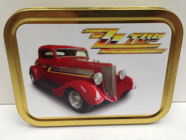 zz-top-logo-with-red-ford-coupe-car-from-the-eliminator-album-cover-classic-rock-band-usa-and-classic-hot-rod-car-gold-sealed-lid-2oz-tobacco-storage-tin