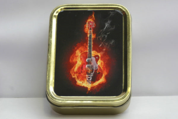 flaming-electric-guitar-rock-and-roll-rhythm-and-blues-gold-sealed-lid-2oz-tobacco-storage-tin