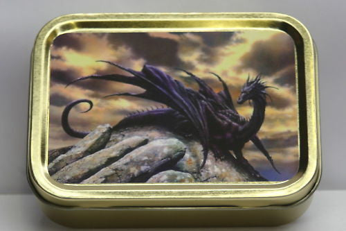 black-dragon-sitting-on-top-of-a-rock-game-of-thrones-mythic-creature-dark-skies-gold-sealed-lid-2oz-tobacco-storage-tin