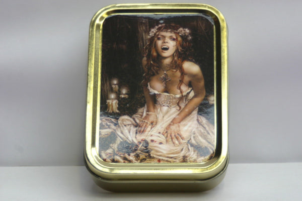 vampire-bride-woman-girl-sexy-old-vintage-in-design-fangs-out-bram-stoker-dracula-gold-sealed-lid-2oz-tobacco-storage-tin
