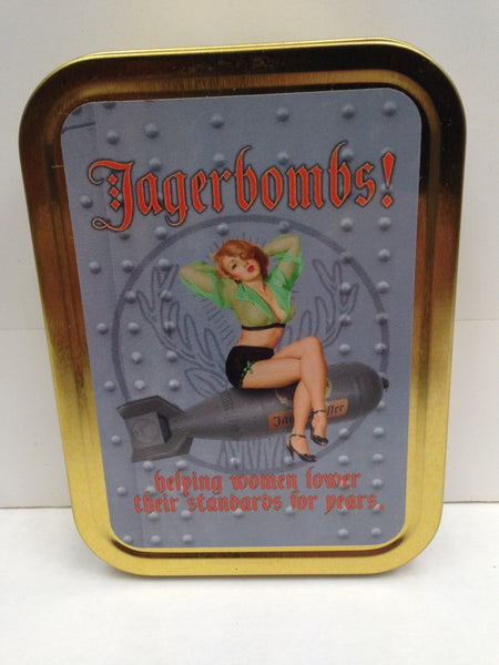 jagerbombs-helping-women-lower-their-standards-for-years-sexy-pinup-sat-on-bomb-drink-advert-retro-in-style-metal-sign-also-available-gold-sealed-lid-2oz-tobacco-storage-tin