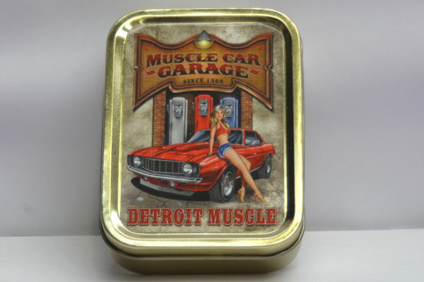 muscle-car-garage-detroit-blonde-sexy-lady-sat-on-the-bonnet-hood-dukes-of-hazard-style-gold-sealed-lid-2oz-tobacco-storage-tin
