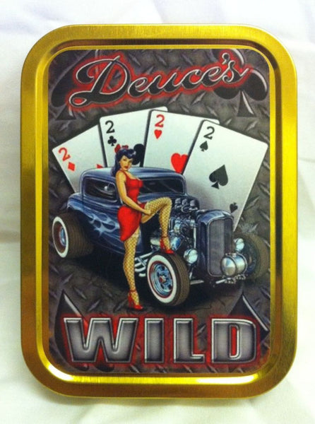 deuce-s-wild-sexy-pinup-in-red-dress-with-american-hot-rod-fish-nets-and-1950-s-design-ford-poker-4-of-a-kind-gold-sealed-lid-2oz-tobacco-storage-tin