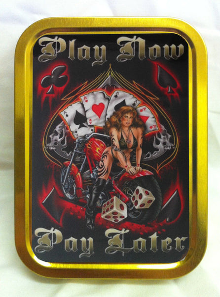 play-now-pay-later-bikini-leather-girl-on-back-of-motor-bike-tattoo-biker-chick-cards-4-aces-gold-sealed-lid-2oz-tobacco-storage-tin