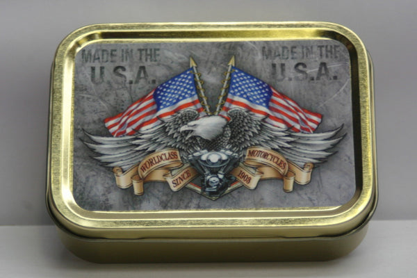 harley-davidson-motor-cycles-motor-bikes-made-in-the-usa-bald-eagle-world-class-since-1903-american-flag-classic-iconic-brand-gold-sealed-lid-2oz-tobacco-storage-tin