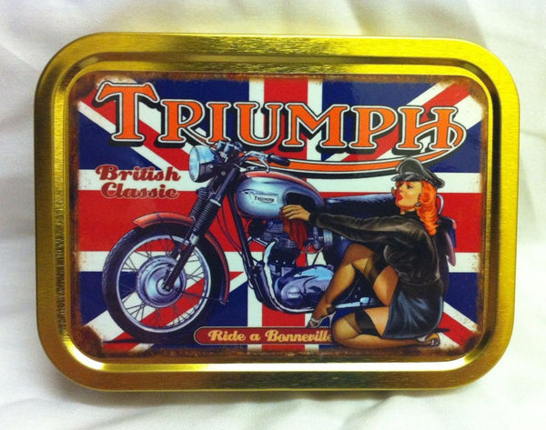 triumph-bonneville-british-classic-motor-cycle-bike-sexy-red-head-in-leathers-polishing-bike-50-s-design-on-union-jack-gold-sealed-lid-2oz-tobacco-storage-tin