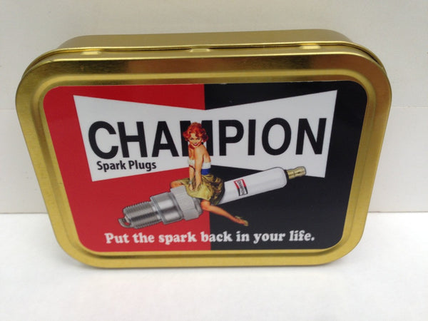 champion-spark-plugs-put-the-spark-back-in-your-life-pin-up-riding-spark-plug-classic-retro-sign-also-available-as-metal-sign-gold-sealed-lid-2oz-tobacco-storage-tin