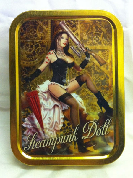 steampunk-doll-sexy-black-haired-girl-in-underwear-umbrella-and-blunderbuss-shot-gun-with-pointless-scope-comic-book-tattoos-gold-sealed-lid-2oz-tobacco-storage-tin