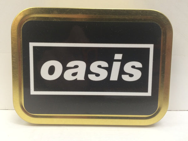 oasis-rock-pop-indie-band-record-music-retro-cigarette-britpop-1990-s-black-and-white-logo-noel-and-liam-gallagher-manchester-northern-wonderwall-roll-with-it-cigarettes-and-alcohol-definitely-maybe-gold-sealed-lid-2oz-tobacco-storage-tin