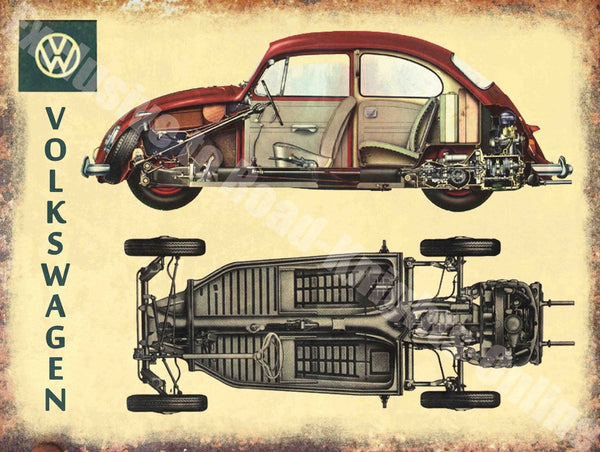 vw-beetle-volkswagen-car-cut-away-vintage-advert-metal-steel-wall-sign