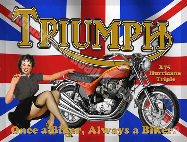 triumph-x75-hurricane-triple-motorcycle-once-a-biker-always-a-biker-garage-metal-steel-wall-sign