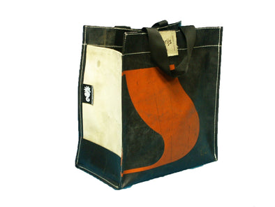 Shopper recycled zwart/oranje