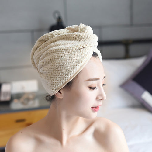 Microfiber Dry Hair Cap Super Absorbent Shower Cap With Button - REVIVIFY