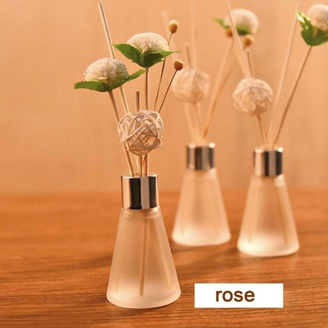 34 No-fire Rattan Aromatherapy Lavender Rose Sea Lily Lemon Diffusers Household Bathroom Rattan Glass Bottle - REVIVIFY