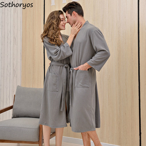 Waffle Solid Simple Long Sleeve Robe - REVIVIFY