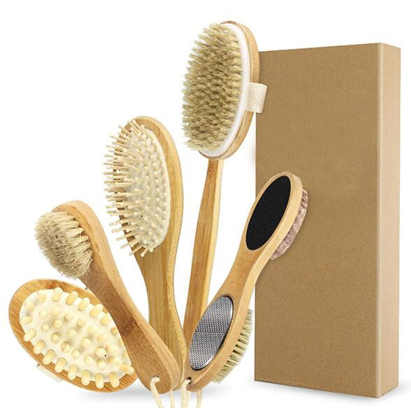 TREESMILE Dry Body Brushing Set - Natural Bristle Shower Brush - Remove Dead Skin & Toxins,Cellulite Treatment Massage Brush D30 - REVIVIFY