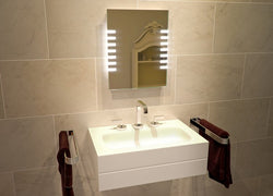 Square Lighted Sides Split LED Wall Mounted Lighted Vanity & Makeup Mirror