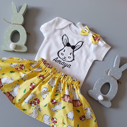 Bow Bunny Personalised Children's Tshirt