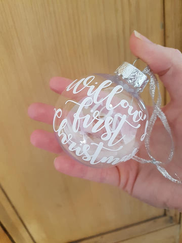 "PERSONALISED ""CLEAR GLASS"" STYLE BAUBLE"