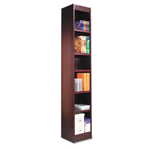 Narrow Profile Bookcase, Wood Veneer, Six-Shelf, 12w X 11-3/4d X 72h, Mahogany