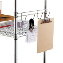 "Load image into Gallery viewer, Hook Bars For Wire Shelving, Five Hooks, 24"" Deep, Silver, 2 Bars/pack"