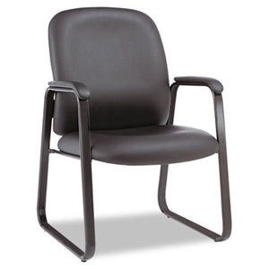 Alera Genaro Series Guest Chair, Black Leather, Sled Base