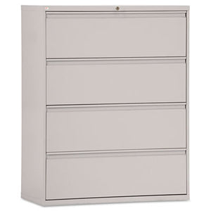 FOUR-DRAWER LATERAL FILE CABINET, 42W X 18D X 52 1/2H, LIGHT GRAY