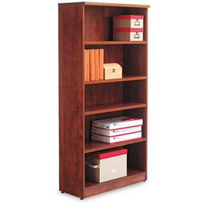 Alera Valencia Series Bookcase, Five-Shelf, 31 3/4w X 14d X 65h, Medium Cherry