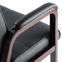 Load image into Gallery viewer, ALERA MADARIS SERIES LEATHER GUEST CHAIR W/WOOD TRIM, FOUR LEGS, BLACK/MAHOGANY