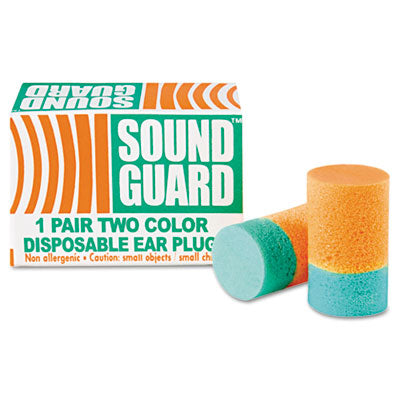 6515001376345, SKILCRAFT EAR PLUGS, UNCORDED, PVC FOAM, ORANGE/GREEN, 200 PAIRS/BOX