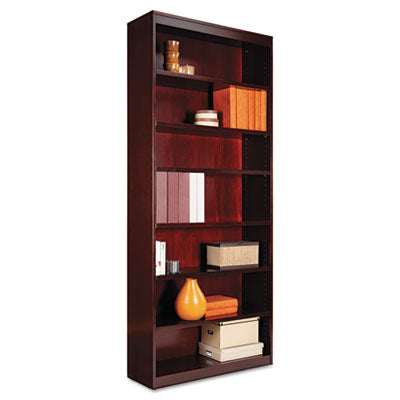 Square Corner Wood Veneer Bookcase, Seven-Shelf, 35-5/8 X 11-3/4 X 84, Mahogany