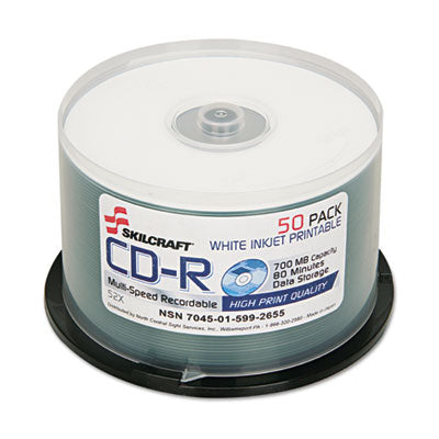7045015992655, CD-R DISC, 700MB/80MIN, 52X, PRINTABLE, SPINDLE, 50/PACK