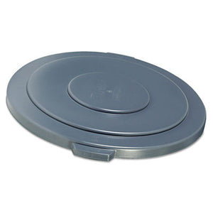 "Round Flat Top Lid, For 55-Gallon Round Brute Containers, 26 3/4"", Dia., Gray"