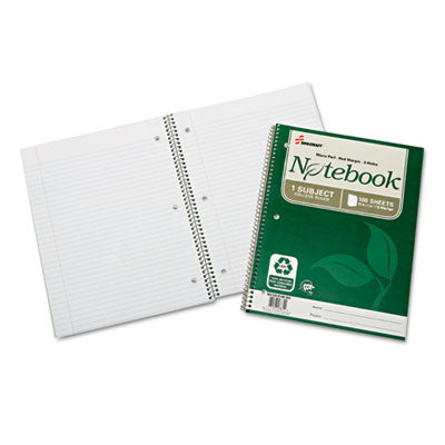 7530016002025 SKILCRAFT RECYCLED NOTEBOOK, 1 SUBJECT, MEDIUM/COLLEGE RULE, GREEN COVER, 11 X 8.5, 100 SHEETS, 3/PACK