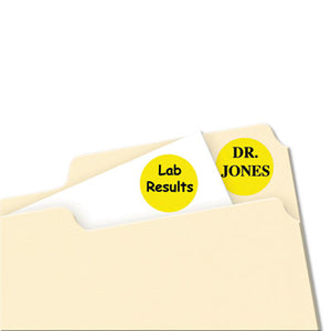 "Printable Removable Color-Coding Labels, 3/4"" Dia, Yellow, 1008/pack"