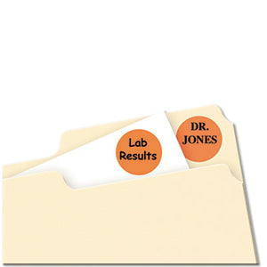 "Printable Removable Color-Coding Labels, 3/4"" Dia, Neon Orange, 1008/pack"