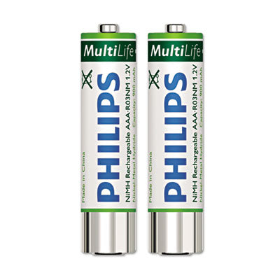 Rechargeable Nimh Batteries, Aaa, 2 Per Pack