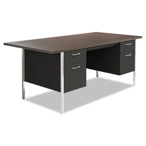 DOUBLE PEDESTAL STEEL DESK, METAL DESK, 72W X 36D X 29-1/2H, MOCHA/BLACK