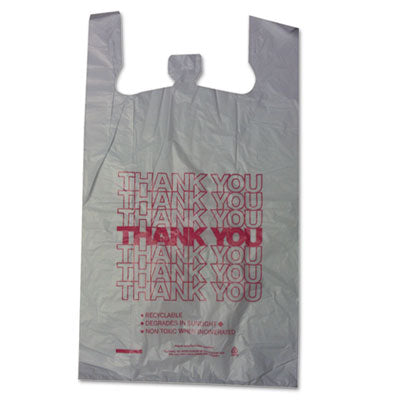 Thank You High-Density Shopping Bags, 18w X 8d X 30h, White, 500/carton