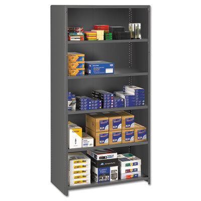 Closed Commercial Steel Shelving, Six-Shelf, 36w X 24d X 75h, Medium Gray