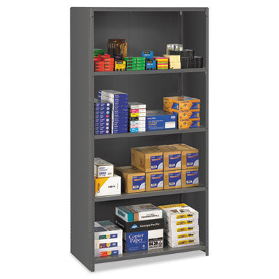 Closed Commercial Steel Shelving, Five-Shelf, 36w X 18d X 75h, Medium Gray