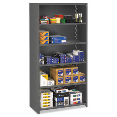 Closed Commercial Steel Shelving, Six-Shelf, 36w X 18d X 75h, Medium Gray